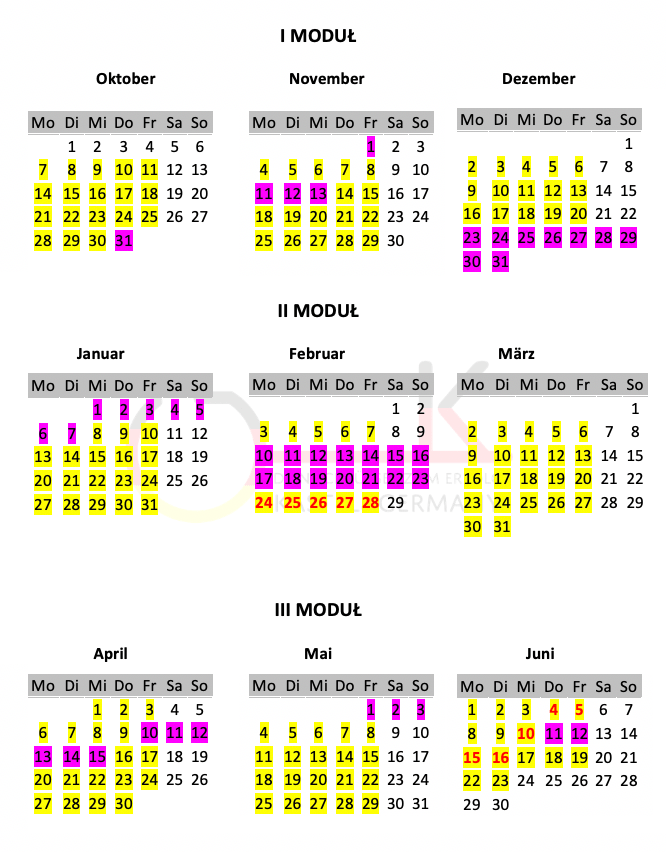 Kalendarz zajęć szkoły języka niemieckiego Kastel Germany we Wrocławiu